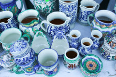 Various handicrafts fair: Romanian traditional mugs Royalty Free Stock Image