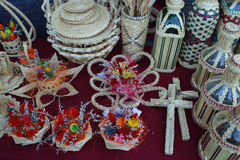 Various handicrafts fair: small items woven Royalty Free Stock Images