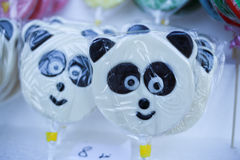 Various handicrafts fair: traditional lollipops, bear models Stock Photo