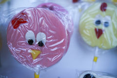 Various handicrafts fair: traditional lollipops, birds models Stock Images