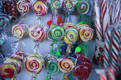 Various handicrafts fair: traditional lollipops, colored models Stock Images