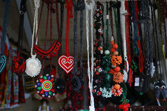 Various handicrafts fair: traditional neck chains Royalty Free Stock Photos