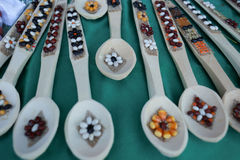 Various handicrafts fair: Wooden spoons with floral Royalty Free Stock Photo