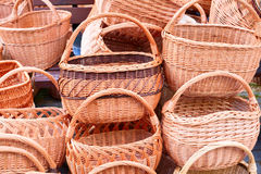 The various handmade pads wickers. The various pads wickers on open air trade Royalty Free Stock Images