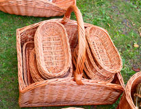 The various handmade pads wickers. The various pads wickers on open air trade Royalty Free Stock Photo