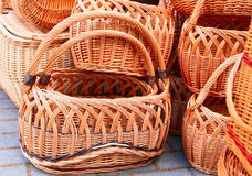 The various handmade pads wickers. The various pads wickers on open air trade Stock Photography
