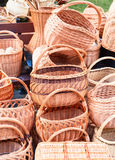 The various handmade pads wickers. The various pads wickers on open air trade Stock Image
