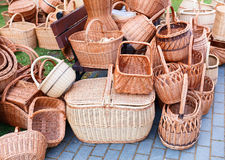 The various handmade pads wickers. The various pads wickers on open air trade Royalty Free Stock Photos