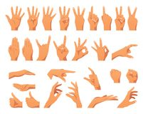 Various hands gestures. Vector flat style set of various hands gestures. Different signs and emotions. Isolated on white background vector illustration