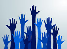 Various hands lifted up in the air. Many blue people's hands up. Vector Stock Photo