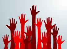 Various hands lifted up in the air. Many red people's hands up. Vector Stock Image