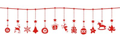 Various Hanging Christmas ornaments on border. Various hanging Christmas ornaments with red icons in versatile border isolated on white Royalty Free Stock Photography