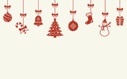 Various hanging Christmas ornaments. Various hanging Christmas red ornaments isolated background Royalty Free Stock Image