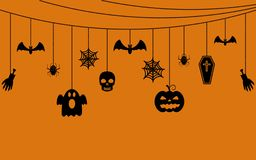 Various hanging Halloween ornaments. Vector illustration Stock Image