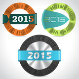 Various happy new year badges. Various happy new year badge designs for year 2015 Stock Photo