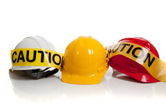 Various hard hats on a white background Royalty Free Stock Image