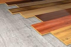 Various Hardwood planks 3D rendering Royalty Free Stock Photo