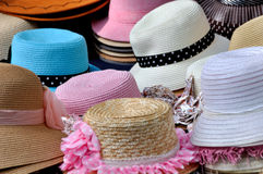 Various of hat. Various of straw hat in different color and size and repeated shape, shown as same type and small difference or colorful dress and clothing in Stock Image
