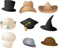 Various hats. Illustration clipart icons color set Royalty Free Stock Photography