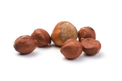 Various Hazelnuts. (Corylus avellana) isolated on a white background. Clipping Path included stock image