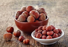 Various hazelnuts Stock Photo