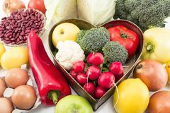 Various Healthy Food with Heart Tray royalty free stock photos