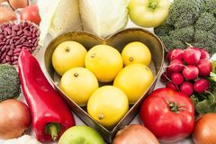 Various Healthy Food with Heart Tray royalty free stock photography