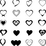 Various heart icons, heart icons, heart buttons, sticker labels, buttons, icons. Various heart icons, heart icons, heart buttons, sticker label, heart button and royalty free illustration