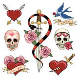 Various Heart Skull and Dagger Tattoo Graphics Royalty Free Stock Image