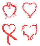 Various hearts in red color Royalty Free Stock Images