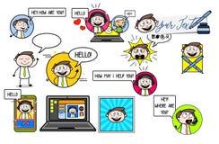 Various Helpline Talking Professional Businessman. Vector design stock illustration