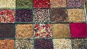 Various herbal tea and fruit teas in Turkish spice bazaar in istanbul royalty free stock photography