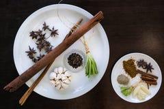 Various herbs cinnamon, star anise, sarlic, black pepers, corria Royalty Free Stock Image