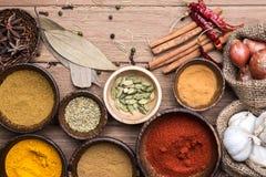 Various Herbs On The Wood Table Stock Photos