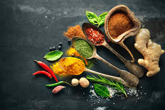 Various herbs and spices. On black stone plate Royalty Free Stock Image