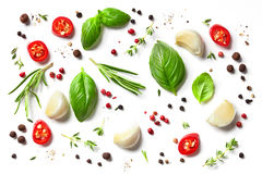 Various herbs and spices. Isolated on white background, top view Stock Image