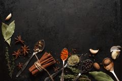 Various herbs and spices on black old table. Various herbs and spices in metal spoons on dark old table or background with copysapce for menu. Top view. Dark Royalty Free Stock Image