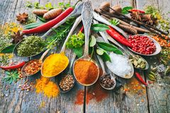 Various herbs and spices with spoons Royalty Free Stock Photography