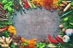 Various herbs and spices. On stone background stock images