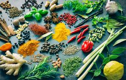 Various herbs and spices. On dark background Royalty Free Stock Photos