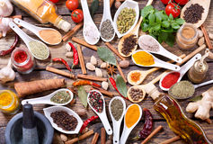 Various herbs, spices and vegetables for cooking Royalty Free Stock Photography