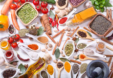 Various herbs, spices and vegetables for cooking Stock Photos