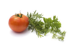 Various herbs and tomato isolated on white Royalty Free Stock Photos
