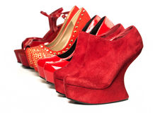 Various High Heels shoes in red Stock Photos