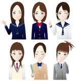 Various high school girls Stock Image