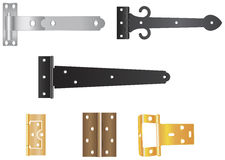 Various hinges. Illustration of various gate and door hinges Royalty Free Stock Image