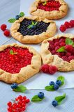 Various homemade tarts with fresh blueberries, raspberries, red currants on the gray background. Vegetarian berries galette. Decorated with mint. Delicious Royalty Free Stock Photos
