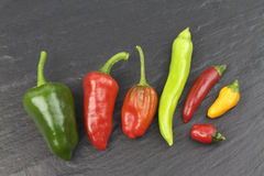Various hot chili peppers on black stone background Stock Photo