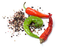 Various of hot peppers on white background Royalty Free Stock Photo