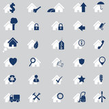 Various house icon set of 30. In two colors Royalty Free Stock Images